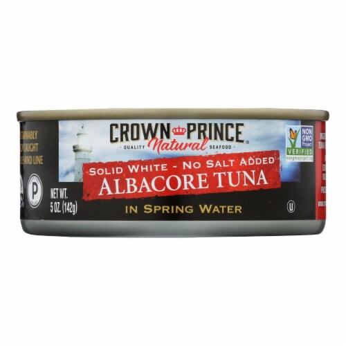 Crown Prince Albacore Tuna In Spring Water - Solid White - Case of 12 - 5 oz. Perspective: front