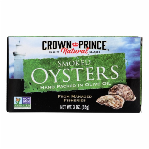 Crown Prince Oysters - Naturally Smoked in Pure Olive Oil - 3 oz - case of 18 Perspective: front