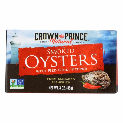 Crown Prince Oysters - Smoked with Red Chili Pepper - Case of 18 - 3 oz. Perspective: front