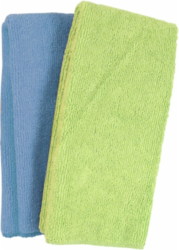 The Detailer's Choice® Microfiber Towels - Green/Blue Perspective: front