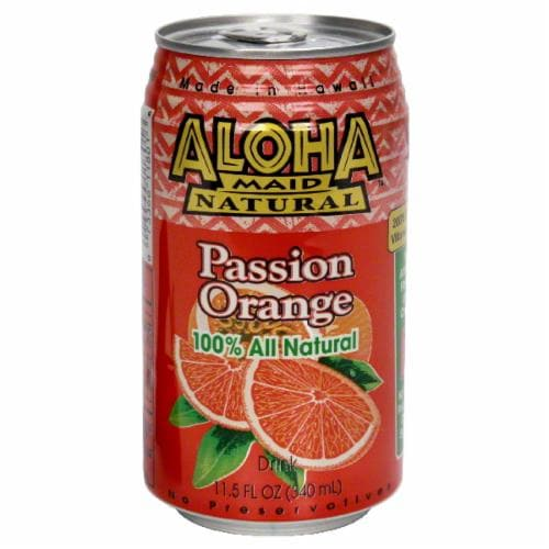 Aloha Maid Natural Passion Orange Drink Perspective: front