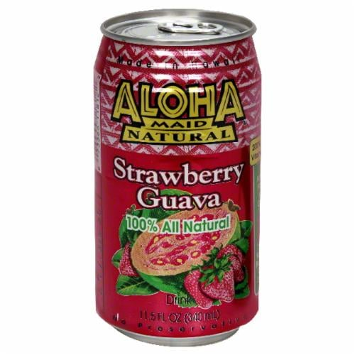 Aloha Maid Natural Strawberry Guava Drink Perspective: front