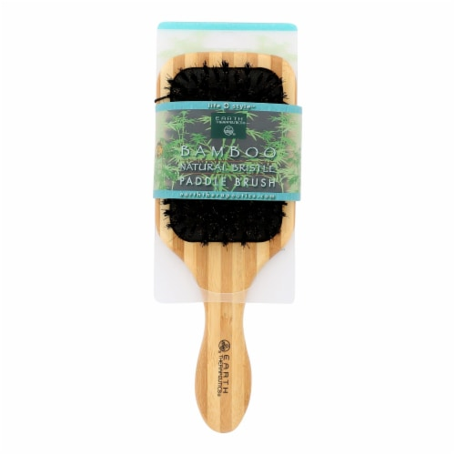 Earth Therapeutics Large Bamboo Natural Bristle Paddle Brush - 1 Brush Perspective: front