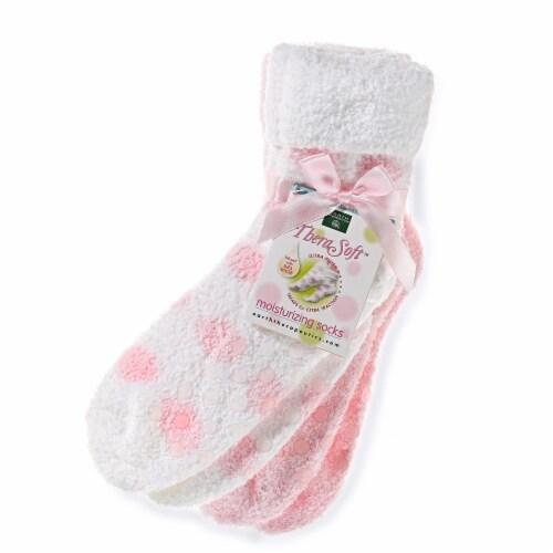 Earth Therapeutics Thera Soft Pink Polka Dot Moisturizing Socks Perspective: front