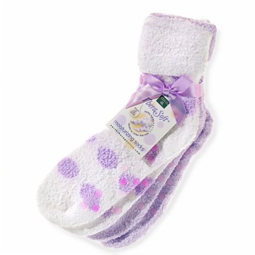 Earth Therapeutics Thera Soft Lavender Polka Dot Moisturizing Socks Perspective: front