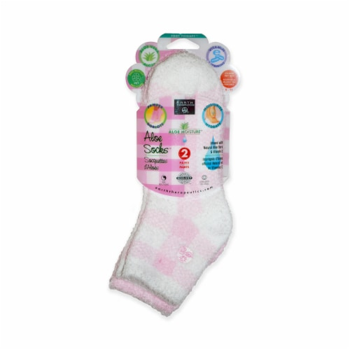 Earth Therapeutics Pink Aloe Spa Socks Perspective: front