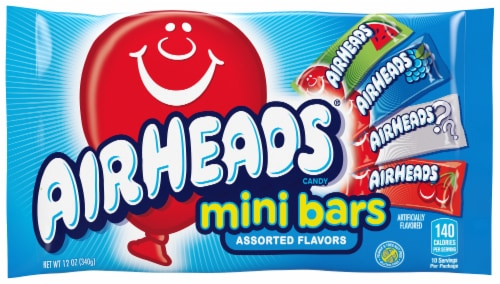 Airheads Mini Bars Assorted Flavors Candy Perspective: front