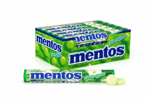 Mentos Green Apple Chewy Mint Candy Rolls Perspective: front