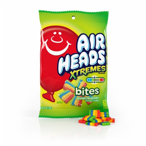 Airheads Xtremes Rainbow Berry Bites Sour Candy Perspective: front