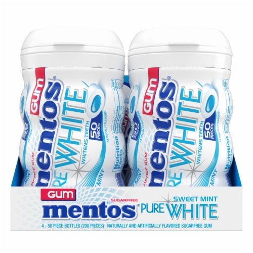 Mentos Pure White Sweet Mint Sugar-Free Gum Perspective: front