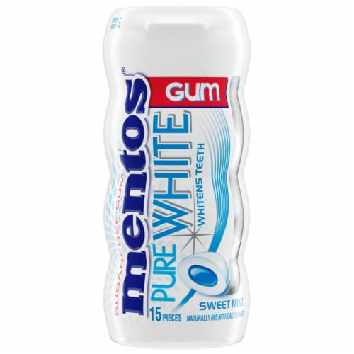 Mentos Pure White Sweet Mint Chewing Gum Perspective: front