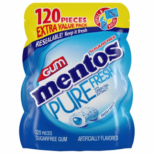 Mentos Pure Fresh Sugar-Free Fresh Mint Gum Perspective: front