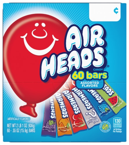 Airheads Individually Wrapped Full Size Candy Bars Perspective: front