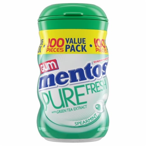 Mentos Pure Fresh Spearmint Sugar Free Chewing Gum 100 Count Perspective: front