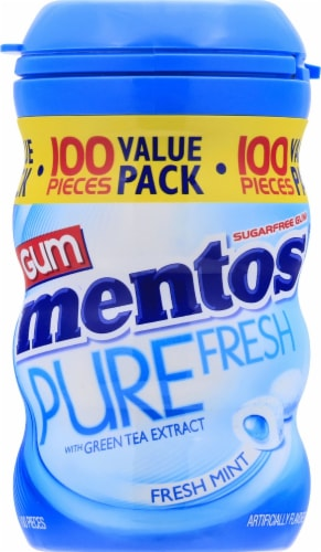 Mentos Pure Fresh Sugar Free Fresh Mint Chewing Gum 100 Count Perspective: front