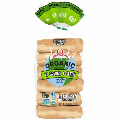 Oroweat Organic 10 Grains & Seeds English Muffins 6 Count Perspective: front
