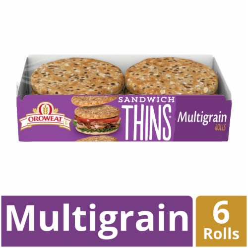 Oroweat Multigrain Sandwich Thins 6 Count Perspective: front