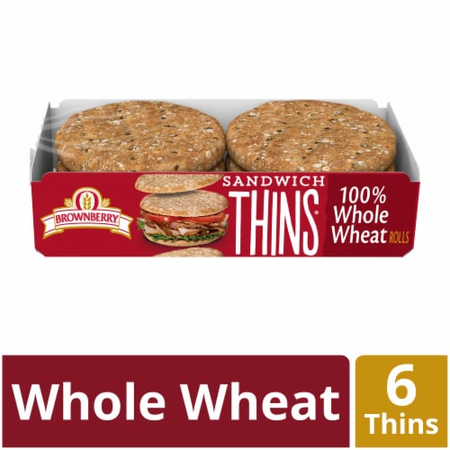 Brownberry 100% Whole Wheat Sandwich Thins Perspective: front