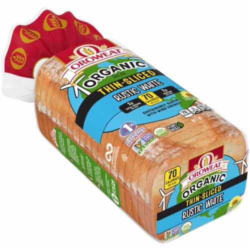 Oroweat Organic Thin Sliced Rustic White Bread Perspective: front