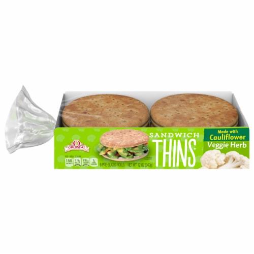 Oroweat Sandwich Thins Veggie Herb Rolls Perspective: front