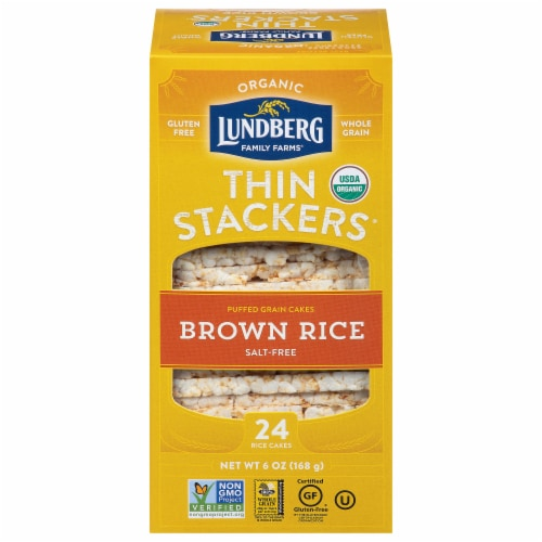 Lundberg Organic Brown Rice Puffed Grain Cakes Perspective: front