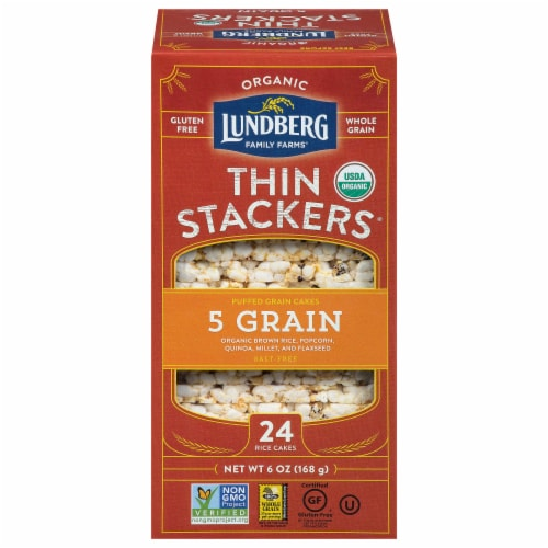 Lundberg Organic 5 Grain Thin Stackers Puffed Grain Cakes Perspective: front