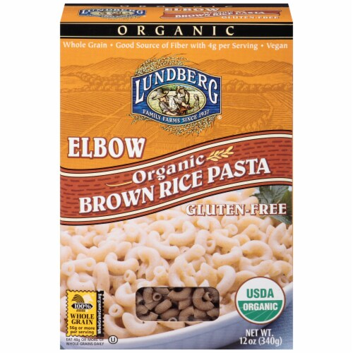 Lundberg Organic Brown Rice Elbow Pasta Perspective: front