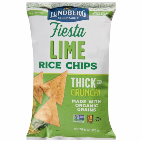 Lundberg Organic Fiesta Lime Rice Chips Perspective: front
