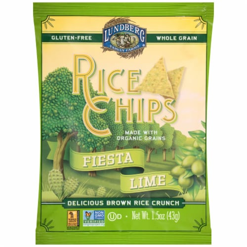 Lundberg Family Farms® Gluten Free Fiesta Lime Rice Chips Perspective: front