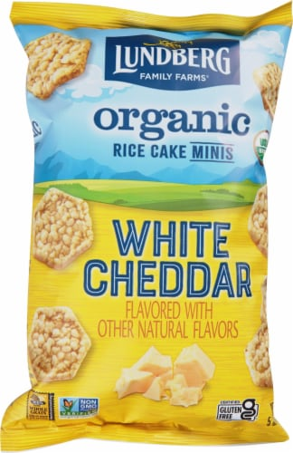 Lundberg Family Farms Organic Gluten-Free White Cheddar Rice Cake Minis Perspective: front