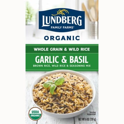 Lundberg Organic Garlic & Basil Whole Grain Rice & Wild Rice Seasoning Mix Perspective: front