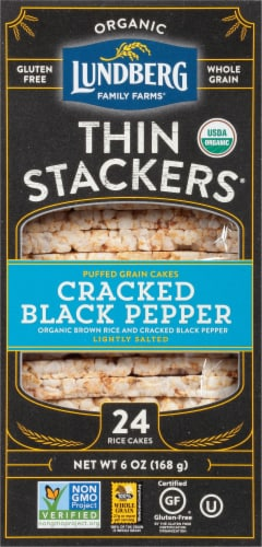 Lundberg Family Farms Organic Thin Stackers Cracked Black Pepper Rice Cakes Perspective: front