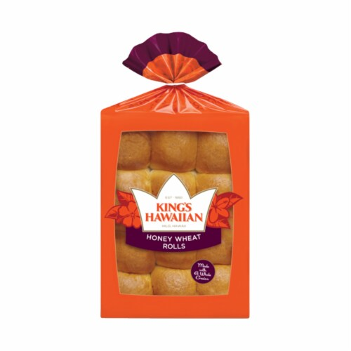 King's Hawaiian Honey Wheat Rolls 12 Count Perspective: front