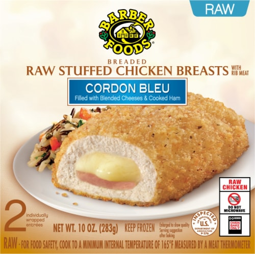 Barber Foods Cordon Bleu Breaded Raw Stuffed Chicken Breasts Perspective: front