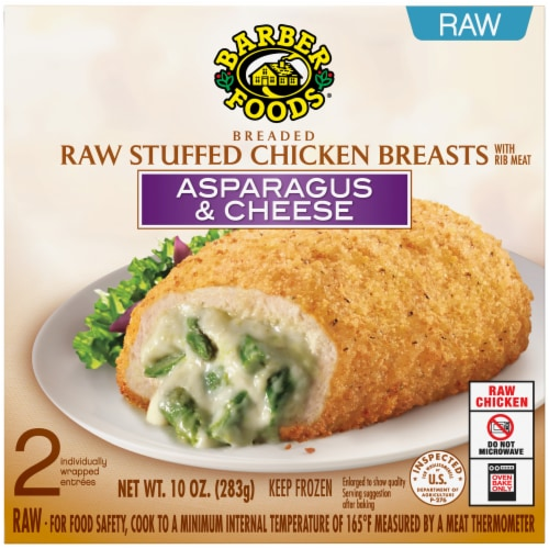 Barber Foods Breaded Raw Asparagus & Cheese Stuffed Chicken Breasts Perspective: front