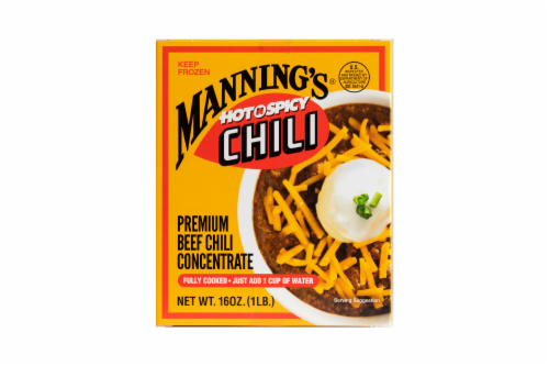 Manning's Hot N Spicy Premium Beef Chili Concentrate Perspective: front