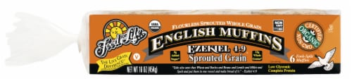 Food For Life Ezekiel 4:9 Sprouted Grain English Muffins Perspective: front