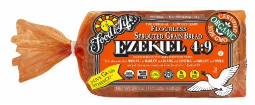 Food for Life Ezekiel 4:9 Sprouted Whole Grain Bread Perspective: front