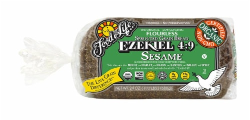 Food for Life Ezekiel 4:9 Sesame Sprouted Grain Bread Perspective: front
