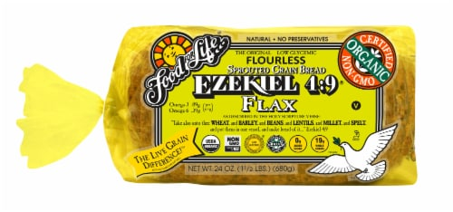 Food For Life Organic Ezekiel 4:9 Sprouted Grain Flax Bread Perspective: front