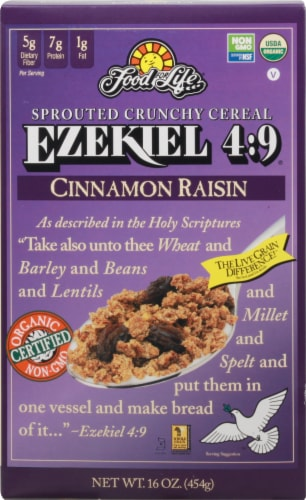 Food for Life Ezekiel 4:9 Cinnamon Raisin Cereal Perspective: front