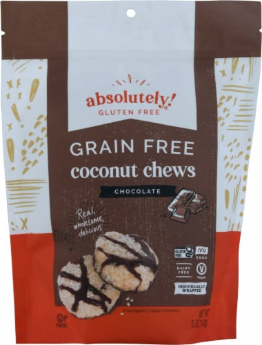 Absolutely Gluten Free Chocolate & Cacao Nibs Raw Coconut Chews Perspective: front