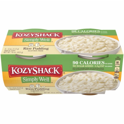 Kozy Shack Simply Well Rice Pudding Snack Cups Perspective: front