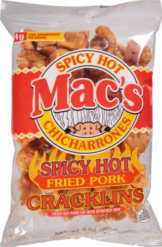 Mac's Spicy Hot Fried Pork Cracklins Perspective: front