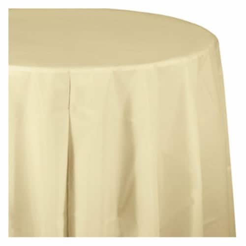 Creative Converting 010032 14 ft. Plastic Table Skirt, Ivory Perspective: front