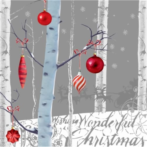 Creative Converting 207861 White Winter Christmas - Beverage Napkins Perspective: front