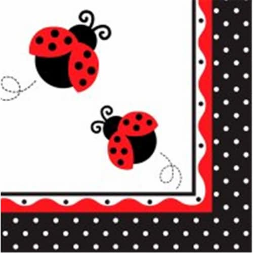 Creative Converting 665019 Ladybug Fancy - Lunch Napkins - Case of 192 Perspective: front