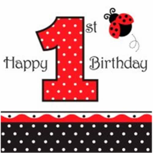 Creative Converting 660119 Ladybug Fancy - Lunch Napkins, 1st Birthday - Case of 192 Perspective: front