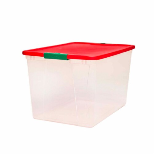 Homz 64 Qt Secure Latching Large Clear Plastic Storage Container Bin w/ Red Lid Perspective: front