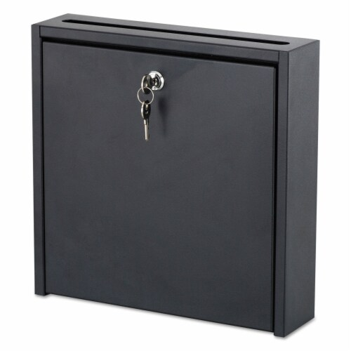 Safco Wall-Mountable Interoffice Mailbox, 12w X 3d X 12h, Black 4258BL Perspective: front